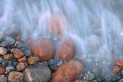 Waves crashing on rocks along Lake Superior<br />Rossport<br />Ontario<br />Canada