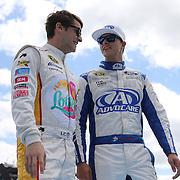 Race car drivers Landon Cassill (L) and Trevor Bayne are seen during driver introductions prior to the 58th Annual NASCAR Daytona 500 auto race at Daytona International Speedway on Sunday, February 21, 2016 in Daytona Beach, Florida.  (Alex Menendez via AP)