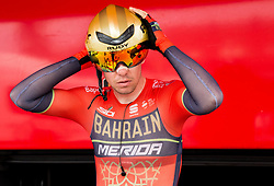 Domen Novak of Bahrain Merida prior to the 5th Time Trial Stage of 25th Tour de Slovenie 2018 cycling race between Trebnje and Novo mesto (25,5 km), on June 17, 2018 in  Slovenia. Photo by Vid Ponikvar / Sportida