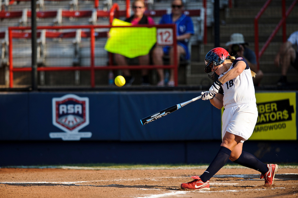 (photo by Matt Roth).Thursday, June 28, 2012..USA Softball Women's National Team opens World Cup VII with 8-0 victory over Puerto Rico at ASA Hall of Fame Stadium in Oklahoma City, Oklahoma Thursday, June 28, 2012.