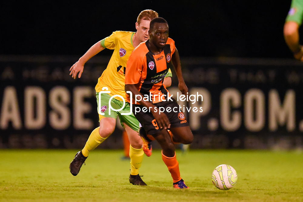 BRISBANE, AUSTRALIA - MARCH 17: Youeil Shol of Easts in action during the FQPL Senior Men's Round 7 match between Eastern Suburbs and Rochedale Rovers on March 17, 2018 in Brisbane, Australia. (Photo by Eastern Suburbs / Patrick Kearney)