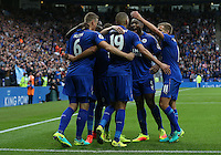 Leicester City's Islam Slimani (#19) celebrates scoring the opening goal with team-mates Robert Huth (#6), Wes Morgan (#5) and Marc Albrighton (#11)<br /> <br /> Photographer Stephen White/CameraSport<br /> <br /> The Premier League - Leicester City v Burnley - Saturday 17th September 2016 - King Power Stadium - Leicester <br /> <br /> World Copyright © 2016 CameraSport. All rights reserved. 43 Linden Ave. Countesthorpe. Leicester. England. LE8 5PG - Tel: +44 (0) 116 277 4147 - admin@camerasport.com - www.camerasport.com