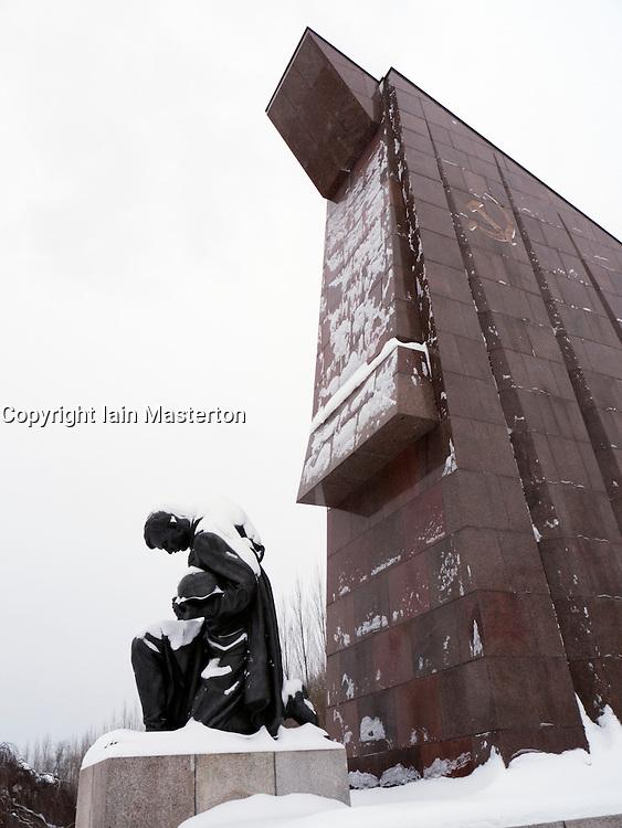 Soviet War memorial in Treptower Park Berlin in the snow in winter 2010