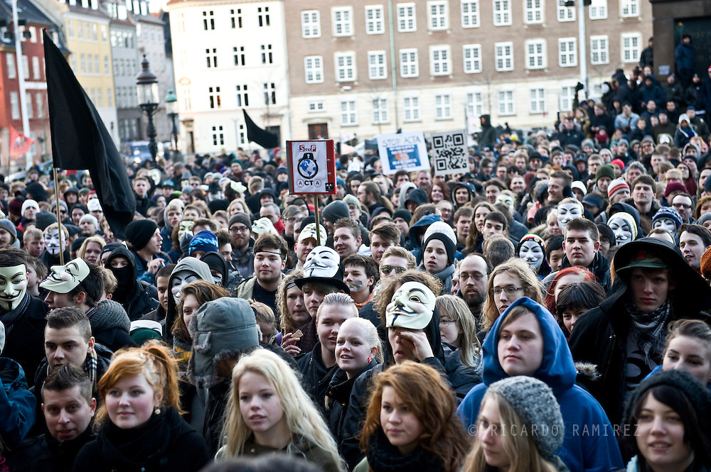 25.02.12. Copenhagen, Denmark.More than 15.000 of people have taken part in coordinated protests in front of parliament in Copenhagen due to a controversial anti-piracy agreement. The current copyright regime is beneficial to the special interests that have lobbied for the treaty.Photo: © Ricardo Ramirez