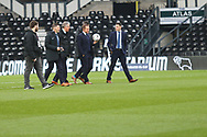 Match officials pre-kick off during the The FA Cup 3rd round match between Derby County and Southampton at the Pride Park, Derby, England on 5 January 2019.