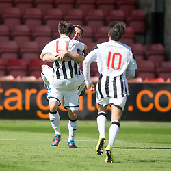 Dunfermline's Joe Cardle (11) cele scoring their fourth goal. <br /> Half time : Dunfermline 4 v 0 Cowdenbeath, SPFL Ladbrokes League Division One game played 15/8/2015 at East End Park.