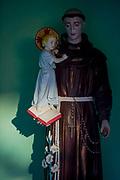 A figure of Saint Stephen and a child in a rural Slovenian village shrine, on 20th June 2018, in Bohinjska Bela, Bled, Slovenia.