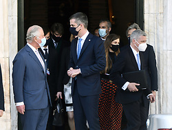 Pictured: <br /> The Prince of Wales at a meeting at Athens City Hall with the Mayor of Athens, Kostas Bakoyannis who presented His Royal Highness with a silk tie and a reproduction of a 1790s engraving depicting a polo match played belowthe Acropolis <br /> <br /> Dimitris Lampropoulos  | EEm 25 March 2021