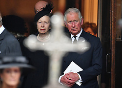 The Prince of Wales and Princess Anne leaving the funeral of Countess Mountbatten of Burma at St Paul's Church, Knightsbridge, London.
