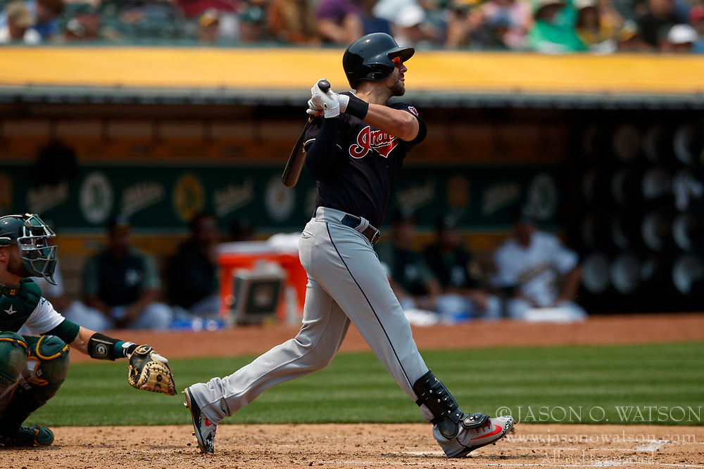OAKLAND, CA - JULY 01: Lonnie Chisenhall #8 of the Cleveland Indians at bat against the Oakland Athletics during the fourth inning at the Oakland Coliseum on July 1, 2018 in Oakland, California. The Cleveland Indians defeated the Oakland Athletics 15-3. (Photo by Jason O. Watson/Getty Images) *** Local Caption *** Lonnie Chisenhall