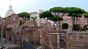 The Roman Forum is a rectangular plaza surrounded by the ruins of ancient government building in the centre of Rome.  Originally referred to as a marketplace. Rome. Italy 2013
