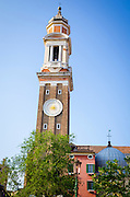 Leaning bell tower of Santi Apostoli Church and 24-Hour Clock, Venice, Veneto, Italy