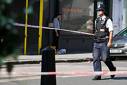 © Licensed to London News Pictures. 01/09/2018. London, UK. The Scene on Caledonian Road in London where a woman in her 20's has been stabbed in broad daylight. Police were called to the scene shortly before 10.30am today. Photo credit: Dinendra Haria/LNP