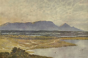 Table Mountain, Cape Town  from Retreat Flats From the book ' The Cape peninsula: pen and colour sketches ' described by Réné Juta and painted by William Westhofen. Published by A. & C. Black, London  J.C. Juta, Cape Town in 1910