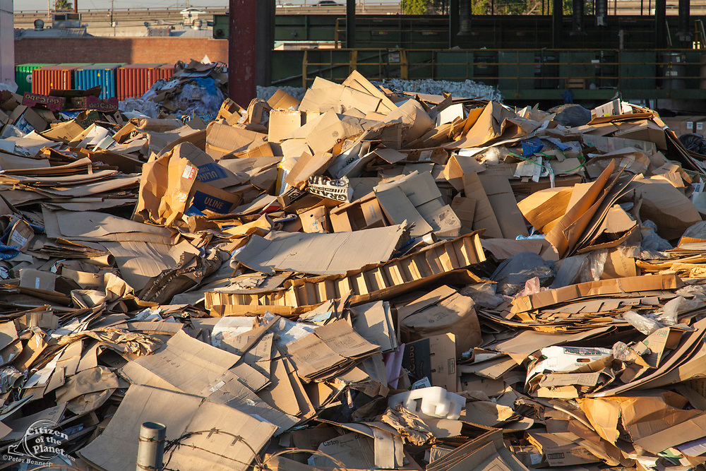 Cardboard boxes at Recycling Station, downtown Los Angeles, California, USA