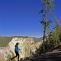 Wyoming.A runner near the Grand Canyon of the Yellowstone.