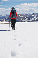 Female hiker in red jacket crosses snowfield near summit of Cairn Lochan in the Cairngorm mountains, Scotland