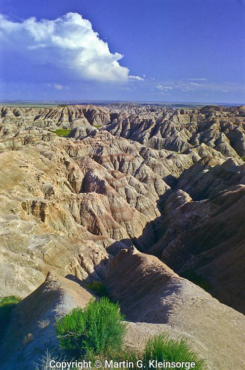 Eroded landscape as seen from the Gullies Cverlook.  Badlands National Park, South Dakota.
