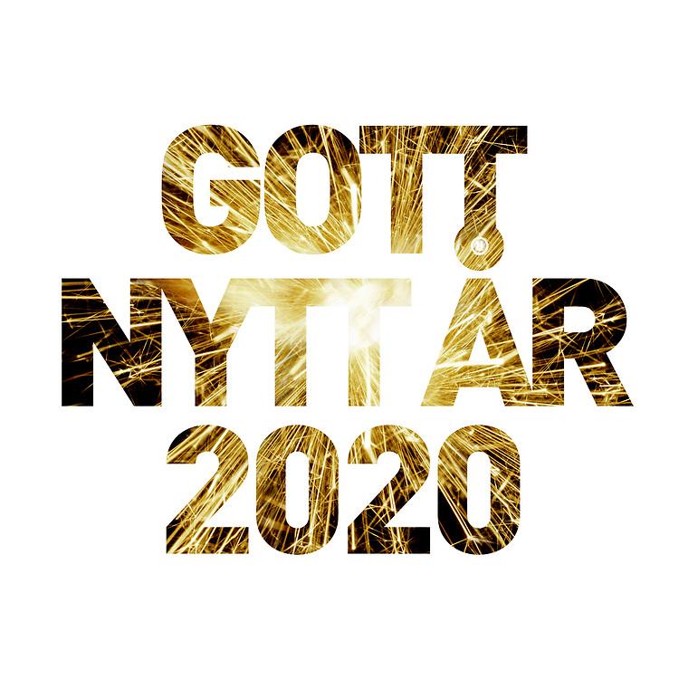 """Nyårs hälsningar i form av ett fyrverkeri i texten """"Gott nytt år 2020""""."""