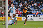 Hull City striker Abel Hernandez (9) misses  during the Sky Bet Championship match between Huddersfield Town and Hull City at the John Smiths Stadium, Huddersfield, England on 9 April 2016. Photo by Simon Davies.