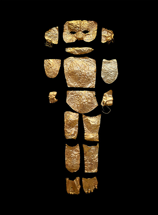 Body shaped Mycenaean gold cut outs from Grave III, 'Grave of a Women', Grave Circle A, Myenae, Greece. National Archaeological Museum Athens. Black Background<br /> <br /> Cat No 146. 16th century BC.<br /> <br /> A unique gold body covering and face of an infant child mad out of pieces of gold foll<br /> <br /> Shaft Grave III, the so-called 'Grave of the Women,' contained three female and two infant interments. The women were literally covered in gold jewelry and wore massive gold diadems, while the infants were overlaid with gold foil. .<br /> <br /> If you prefer to buy from our ALAMY PHOTO LIBRARY  Collection visit : https://www.alamy.com/portfolio/paul-williams-funkystock/mycenaean-art-artefacts.html . Type -   Athens    - into the LOWER SEARCH WITHIN GALLERY box. Refine search by adding background colour, place, museum etc<br /> <br /> Visit our MYCENAEN ART PHOTO COLLECTIONS for more photos to download  as wall art prints https://funkystock.photoshelter.com/gallery-collection/Pictures-Images-of-Ancient-Mycenaean-Art-Artefacts-Archaeology-Sites/C0000xRC5WLQcbhQ