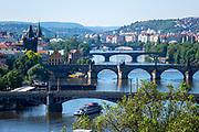 Five of the 18 bridges across the Vltava River in Prague, Czech Republic