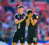Lincoln City's Sean Roughan, left, consoles Brennan Johnson at the end of the game<br /> <br /> Photographer Andrew Vaughan/CameraSport<br /> <br /> The EFL Sky Bet League One Play-Off Final - Blackpool v Lincoln City - Sunday 30th May 2021 - Wembley Stadium - London<br /> <br /> World Copyright © 2021 CameraSport. All rights reserved. 43 Linden Ave. Countesthorpe. Leicester. England. LE8 5PG - Tel: +44 (0) 116 277 4147 - admin@camerasport.com - www.camerasport.com