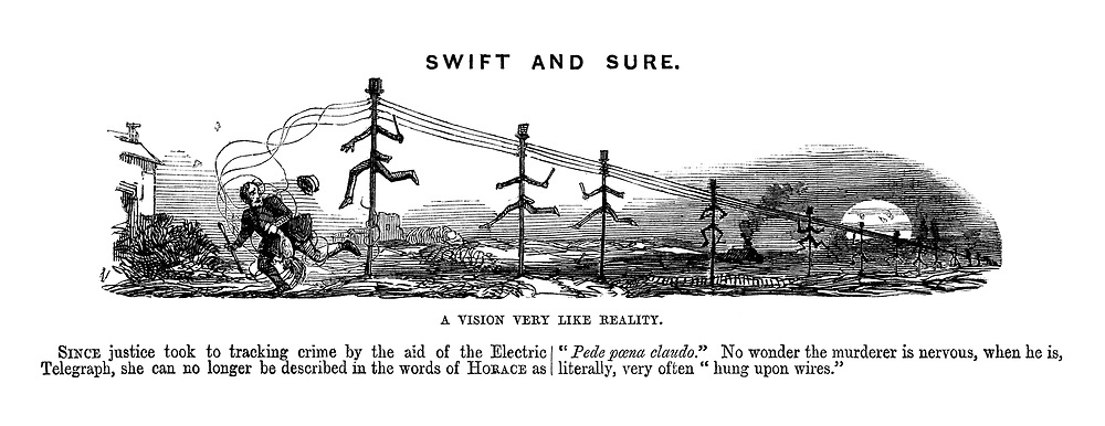 Swift and Sure. A Vision Very Like Reality. (telegraph poles turn into policemen to catch a criminal on the run)