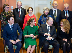 The Aga Khan jokes with Governor General Julie Payette as they pose for a photo with Prime Minister Justin Trudeau and his wife Sophie Gregoire Trudeau before a reception to mark the Aga Khan's Diamond Jubilee as 49th Hereditary Imam of the Shia Imami Ismaili Muslims at Rideau Hall in Ottawa, ON, Canada, on Wednesday, May 2, 2018. Photo by Justin Tang/CP/ABACAPRESS.COM