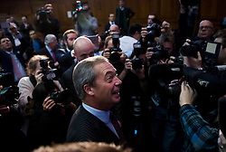 © Licensed to London News Pictures. 28/11/2016. London, UK. Former leader of UKIP, NIGEL FARAGE, arrives for the announcement of the new leader of the UK Independence Party (UKIP), at the Emmanuel Centre in Westminster London, where former deputy leader Paul Nuttall was elected the new leader.  Photo credit: Ben Cawthra/LNP