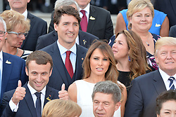July 7, 2017 - Hamburg, Germany - Family photo - Picture shows: Donald Trump, Melania Trump, Emmanuel Macron, Justin Trudeau, Sophie Gregoire.G20 SUMMIT: Reception and concert at Elbphilharmonie, Hamburg, Germany - 07 Jul 2017.Credit: Timm/face to face (Credit Image: © face to face via ZUMA Press)