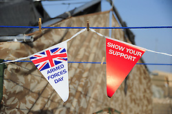© London News Pictures. 24/06/11.The lads and lasses of the Armed Forces out in Afghanistan set up make shift washing lines in their patrol base to dry out their sweaty socks after a day out on the ground.. Mandatory credit Alison Baskerville/LNP