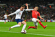 Jordan Henderson of England and David Pavelka battles for possession with Czech Republic during the UEFA European 2020 Qualifier match between England and Czech Republic at Wembley Stadium, London, England on 22 March 2019.