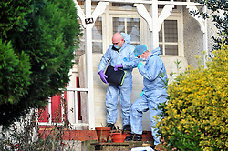 © London News Pictures. 05/01/2016. Police and forensics at the home of former Eastenders actress Sian Blake in Erith, Kent, which has been turned into a crime scene today (05/01/2016). Sian Blake and her two children have been missing for more than three weeks. Her partner has been described as a 'high-risk missing person'. Photo credit: Grant Falvey/LNP