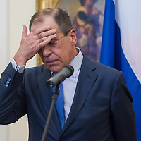 Sergei Lavrov (L) Foreign Minister of Russia and his Hungarian counterpart Janos Martonyi (not in picture) talk during a press conference in Budapest, Hungary on May 02, 2013. ATTILA VOLGYI