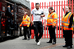 Derby County's Bradley Johnson arrives at the stadium ahead of the match at Ashton Gate