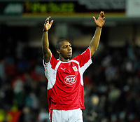 Photo: Leigh Quinnell/Sportsbeat Images.<br /> Watford v Bristol City. Coca Cola Championship. 01/12/2007. Bristol Citys Darren Byfield thanks the fans after his last minute winning goal.