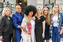 June 14, 2017 - Norristown, Pennsylvania, U.S - VICTORIA VALENTINO, LILI BERNARD and other Cosby accusers pose for a photo outside of the court house in Montgomery County where his sexual assault trial is being held (Credit Image: © Ricky Fitchett via ZUMA Wire)