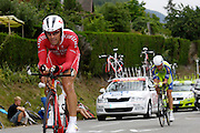France, Talloire, 22 July 2009: Stéphane Auge (Fra) Cofidis, Le Credit en Ligne leads Fabio Sabatini (Ita) Liquigas on the Côte de Bluffy during Stage 18 - a 40.5 km Annecy to Annecy individual time trial. Photo by Peter Horrell / http://peterhorrell.com .