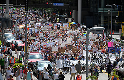 Thousands march through downtown Minneapolis, MN, USA on Saturday, June 30, 2018, to demonstrate against the Trump administration's immigration policies. Photo by Aaron Lavinsky/Minneapolis Star Tribune/TNS/ABACAPRESS.COM