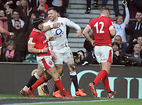 Rugby Union - 2020 Guinness Six Nations Championship - England vs. Wales<br /> <br /> Elliot Daly of England celebrates his try at Twickenham.<br /> <br /> COLORSPORT/ANDREW COWIE