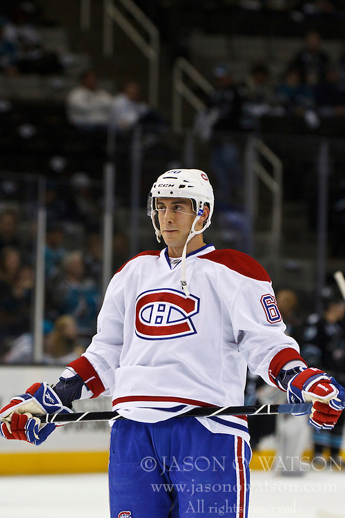 Dec 1, 2011; San Jose, CA, USA; Montreal Canadiens right wing Aaron Palushaj (60) warms up before the game against the San Jose Sharks at HP Pavilion.  San Jose defeated Montreal 4-3 in shootouts. Mandatory Credit: Jason O. Watson-US PRESSWIRE