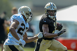 July 28, 2018 - New Orleans, LA, U.S. - METAIRIE, LA. - JULY 28:  New Orleans Saints wide receiver Tre'Quan Smith (10) and cornerback Marshon Lattimore (23) run through a drill during New Orleans Saints training camp practice on July 28, 2018 at the Ochsner Sports Performance Center in New Orleans, LA.  (Photo by Stephen Lew/Icon Sportswire) (Credit Image: © Stephen Lew/Icon SMI via ZUMA Press)