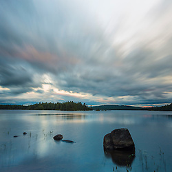 After sunset clouds above Bald Mountain Pond. Appalachian Trail. Bald Mountain Township, Maine.