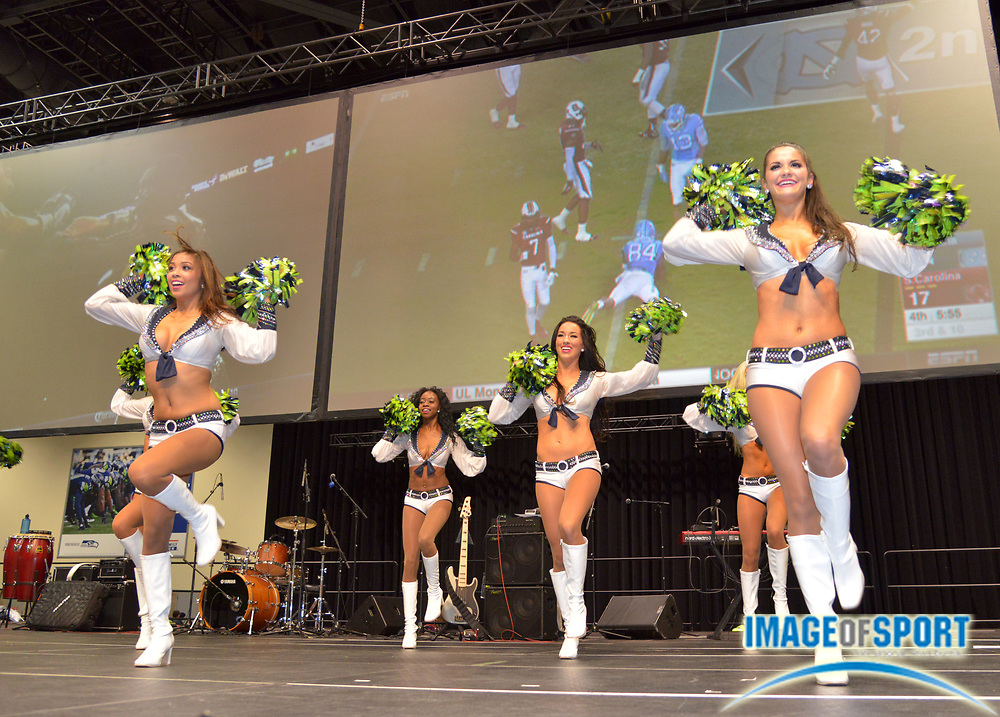 Sep 3, 2015; Seattle, WA, USA; Seattle Seahawks sea gals cheerleaders perform during tailgating festivities before the game against the Oakland Raiders at CenturyLink Field.