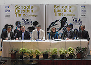 Frank Cottrell Boyce, Lord Rennard, Liam Fogarty (chair) & Rosemary Hawley MBE, Tony Caldeira and the Rt Hon George Howarth MP take their seats in Schools Question Time at St Edwards School Liverpool