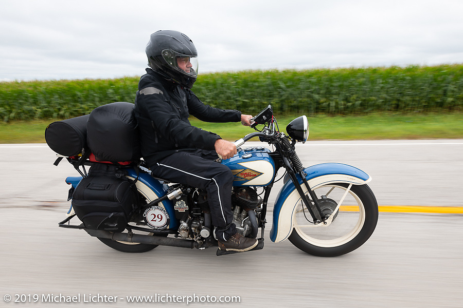Brian Doerfler riding his 1935 Harley-Davidson VL in the Cross Country Chase motorcycle endurance run from Sault Sainte Marie, MI to Key West, FL (for vintage bikes from 1930-1948). Stage 3 from Milwaukee, WI to Urbana, IL. USA. Sunday, September 8, 2019. Photography ©2019 Michael Lichter.