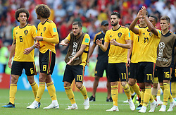 MOSCOW, June 23, 2018  Players of Belgium celebrate victory after the 2018 FIFA World Cup Group G match between Belgium and Tunisia in Moscow, Russia, June 23, 2018. Belgium won 5-2. (Credit Image: © Yang Lei/Xinhua via ZUMA Wire)