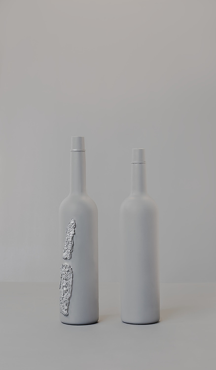In his latest series 'In Shame' you can find the contrast in the bottles by itself quite clearly. One is broken the other not. At least not visible.<br /> <br /> Shame is a big part in our lives, most of the time we don't even realise. <br /> Our ego tries to hide what is hurting us inside. We often try to sell the part what we think the world finds the most interesting. <br /> But is that really the best part of us. If we show our vulnerability, aren't we getting more value?!? <br /> <br /> Being ashamed of what happend to them, can make people try to make themselves disappear in the crowd. They can dissolve themselves in their environment. But if you watch carefully and with interest, they become clear and beautiful persons.<br /> <br /> These series is represented by ART gogo Shanghai and SBK Amsterdam and you can contact Ron for ordering the print on Canson fine art paper in edition of 7