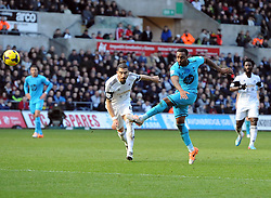 Tottenham Hotspur's Danny Rose fires over - Photo mandatory by-line: Joe Meredith/JMP - Tel: Mobile: 07966 386802 19/01/2014 - SPORT - FOOTBALL - Liberty Stadium - Swansea - Swansea City v Tottenham Hotspur - Barclays Premier League